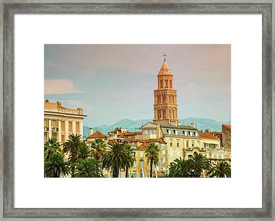 Riva Waterfront, Houses And Cathedral Of Saint Domnius, Dujam, D Framed Print