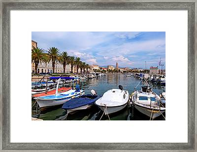 Riva Waterfront, Houses And Cathedral Of Saint Domnius, Dujam, Duje, Bell Tower Old Town, Split, Croatia Framed Print by Elenarts - Elena Duvernay photo