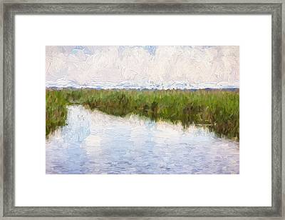 River And Reed Framed Print