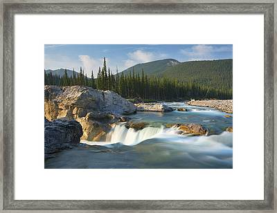River And Waterfall In Morning Light Framed Print