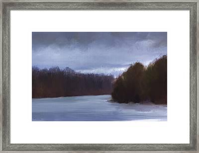 River Bend In Winter Framed Print