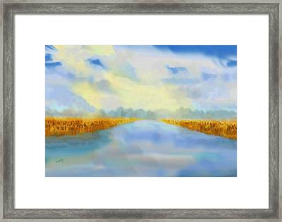 Framed Print featuring the painting River Blue by Valerie Anne Kelly
