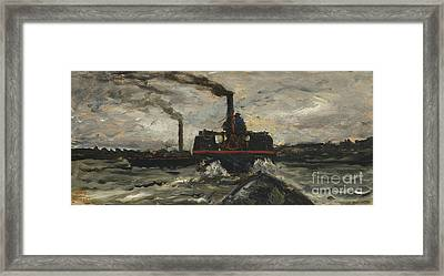 River Boat Framed Print by Charles Francois Daubigny