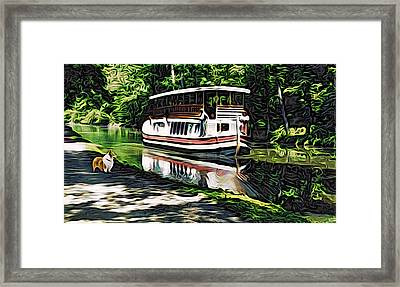 Framed Print featuring the digital art River Boat With Welsh Corgi by Kathy Kelly