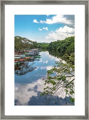 River Boats Docked In Negril, Jamaica Framed Print