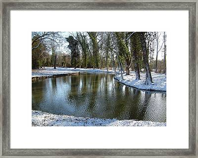 River Cherwell Meandering Through Christ Church Meadows Oxford Uk. Framed Print