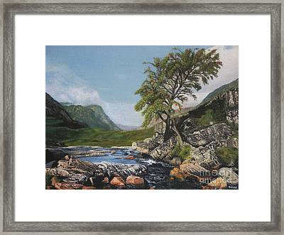 River Coe Scotland Oil On Canvas Framed Print
