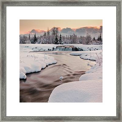 River Covered With Snow At Winter Framed Print