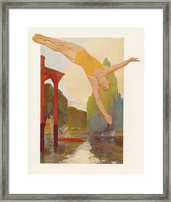 River Diver Framed Print