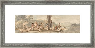 River Ferry With Many Passengers And Animals Framed Print by Paul Sandby