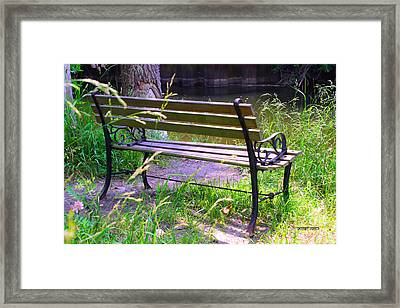 River Fishing Bench Framed Print by Corey Ford