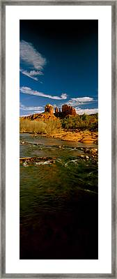 River Flowing Through Rocks, Red Rock Framed Print