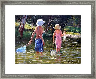 River Fun Framed Print by Roelof Rossouw
