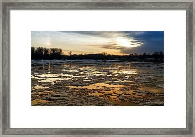 River Ice At Dusk In Colour Framed Print