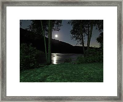 River In Moonlight Framed Print