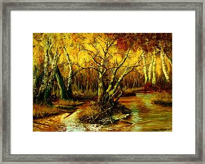 River In The Forest Framed Print by Henryk Gorecki