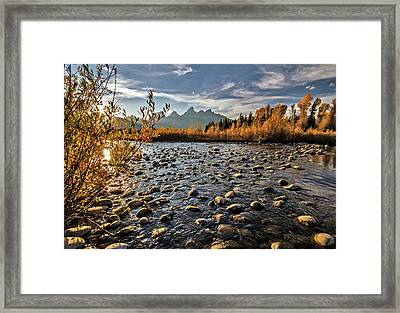 Framed Print featuring the photograph River In The Tetons by Wesley Aston
