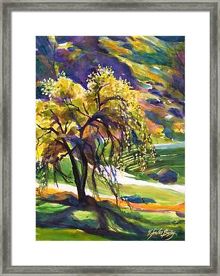 River Island Lone Oak Framed Print by Therese Fowler-Bailey