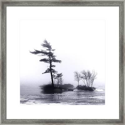 River Islands In Fog Framed Print