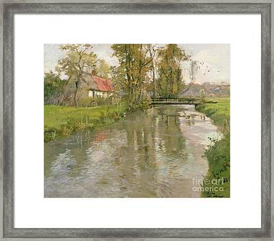 River Landscape Framed Print by Fritz Thaulow