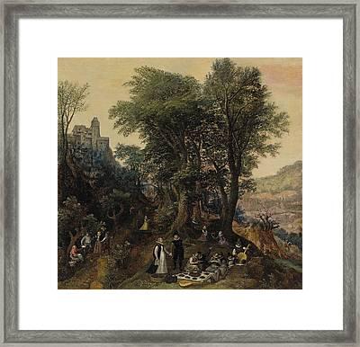 River Landscape In The Spring With Castle And Noblemen Framed Print