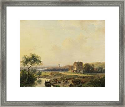 River Landscape Near Haarlem With Windmill And The Ruins Of Brederode Framed Print by Andreas Schelfhout