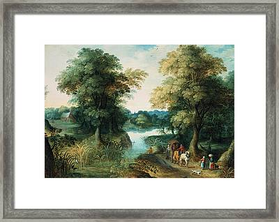 River Landscape Framed Print by Pieter the Elder Bruegel