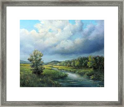 River Landscape Spring After The Rain Framed Print