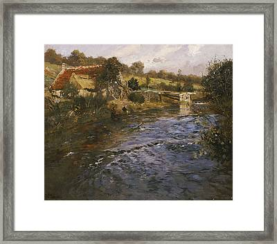 River Landscape With A Washerwoman  Framed Print by Fritz Thaulow