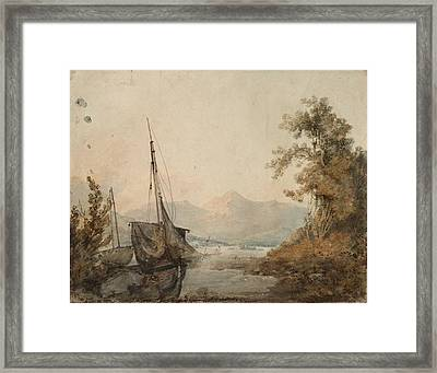 River Landscape With Distant Mountain Framed Print by Joseph Mallord William