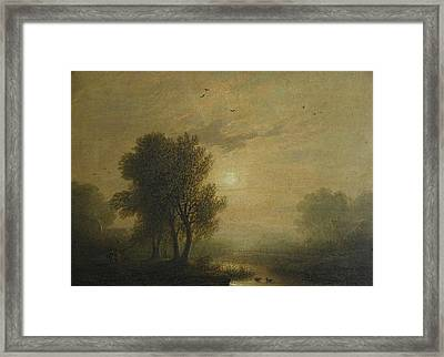 River Landscape With Sunset Framed Print by MotionAge Designs
