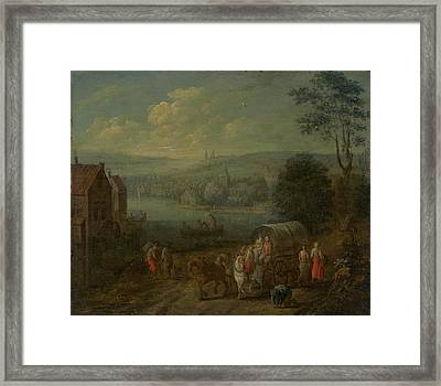 River Landscape With Villages And Travelers Framed Print by Follower Of Peeter Gysels