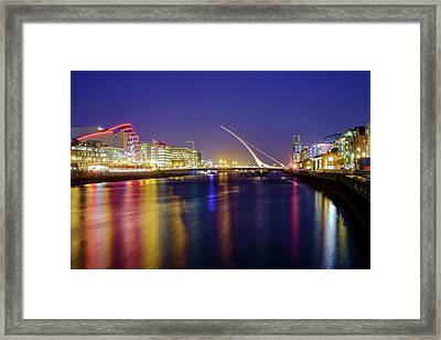 River Liffey In Dublin At Dusk Framed Print