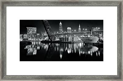River Lights In Black And White Framed Print by Frozen in Time Fine Art Photography