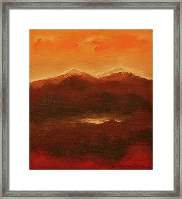 River Mountain View Framed Print