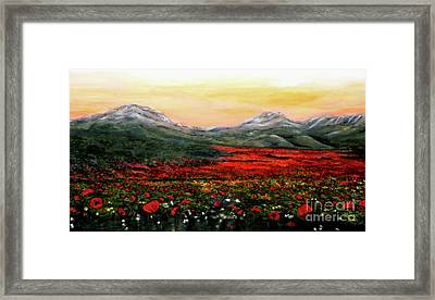 River Of Poppies Framed Print