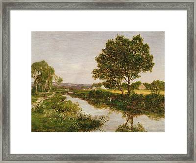 River On The Outskirts Of Quimper Framed Print by Eugene Louis Boudin