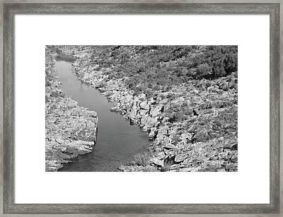 River On The Rocks. Bw Version Framed Print