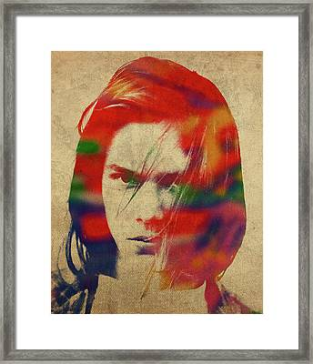 River Phoenix Watercolor Portrait Framed Print