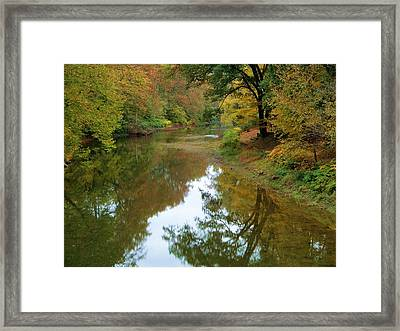 River Reflection Autumn Sunday Framed Print by Terry  Wiley