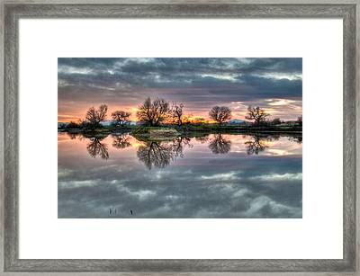 River Reflection Sunrise Framed Print