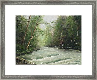 River Retreat Framed Print by Cathy Robertson
