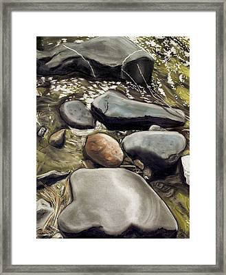 River Rock Formations Framed Print by Brenda Williams