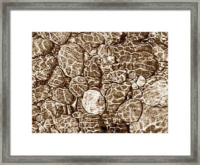 River Rocks In Stream Bed Sepia Framed Print by Jennie Marie Schell