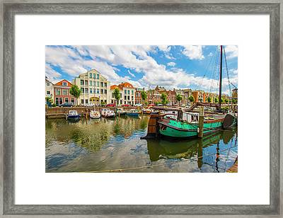 River Scene In Rotterdam Framed Print