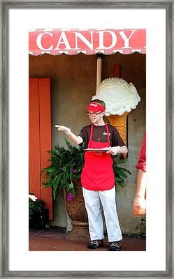 River Street Candy Man Framed Print