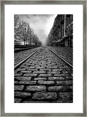 River Street Railway - Black And White Framed Print