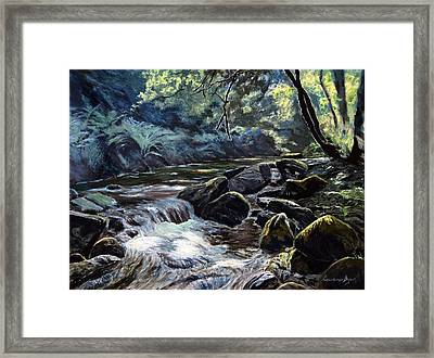 Framed Print featuring the painting River Taw Sticklepath by Lawrence Dyer