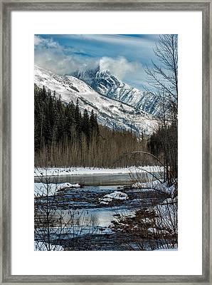 River To Peaks Glacier National Park Framed Print