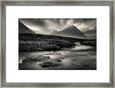 River To The Buachaille Framed Print by Dave Bowman